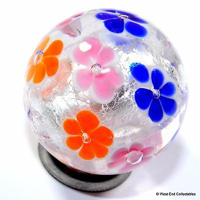 22mm Silver Bloom Glass Art Toy Marble & Stand - Handmade Collectors Marbles