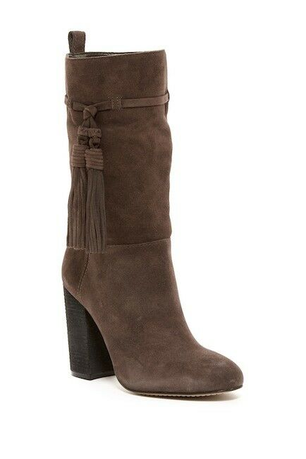 Vince Camuto Fermel Slouch Tassel Grigio Suede Leather Boot Mid Calf SZ 6.5