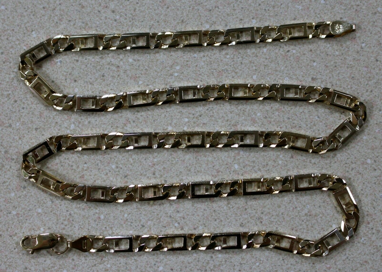 10k Two Tone gold 5.6 mm Fancy Figaro Link Chain  24  33.0g Solid - Gorgeous