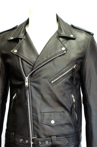 Classic Designer Real Leather Motorcycle Jacket Men's Brando Biker Black Cowhide gwatTxYYn5