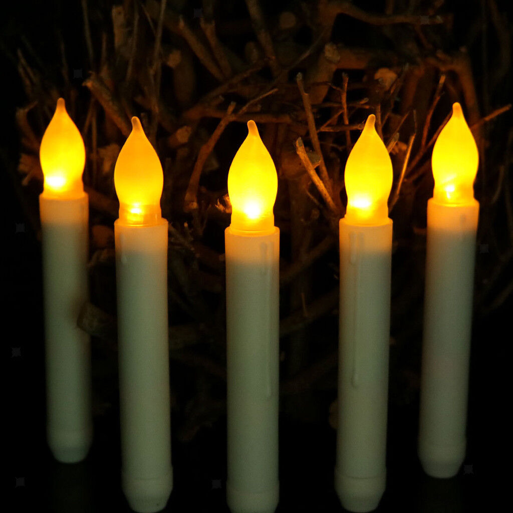 50x Battery Long LED Taper Candle for Church Home Wedding Party Decor 165mm