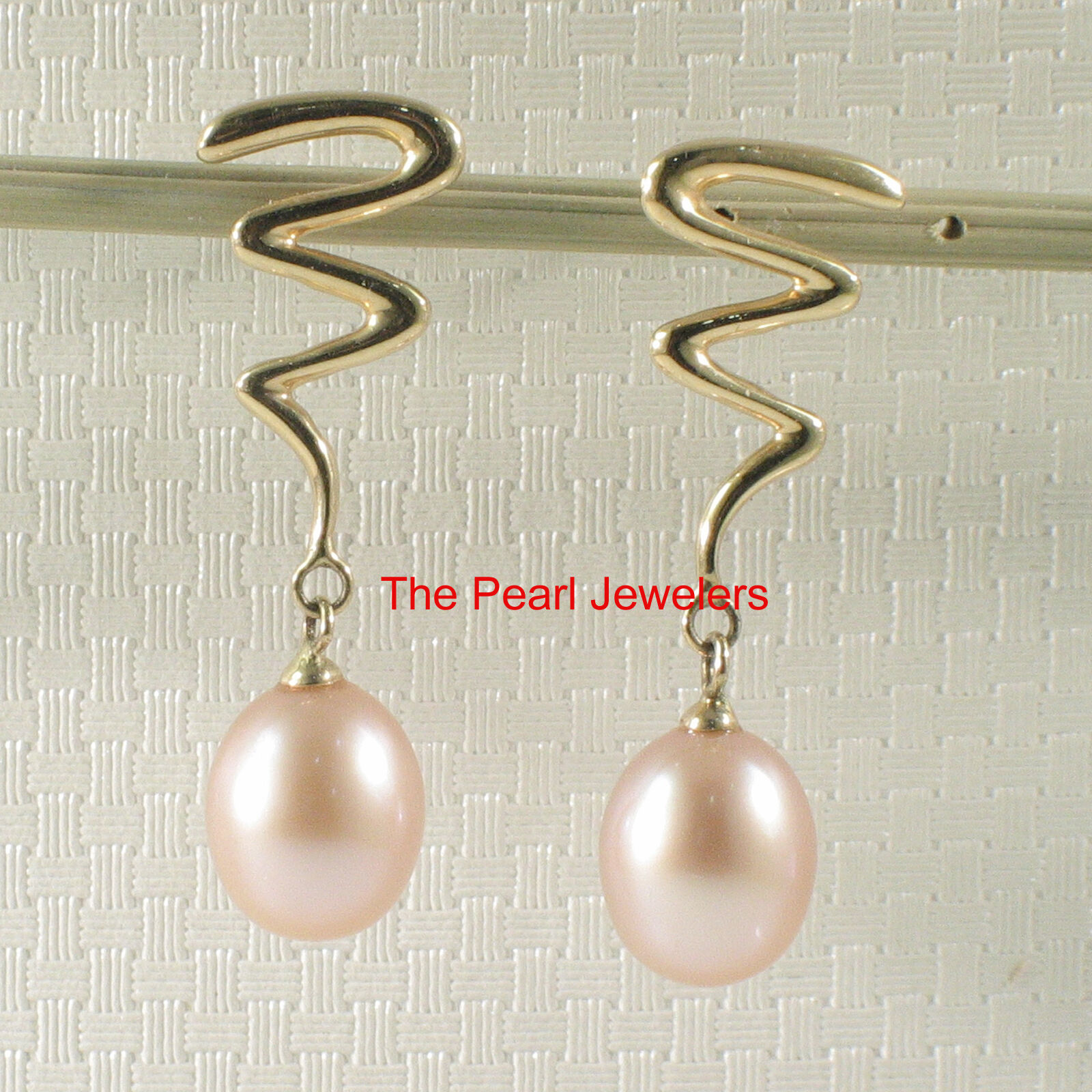 AAA Pink Cultured Pearl Dangle Stud Earrings; 14k Yellow gold Unique Design TPJ