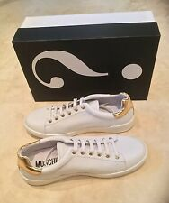 MOSCHINO  SPECCHIO WHITE AND GOLD LEATHER TRAINER SIZE UK 7 EU 41 USA 8 BNIB