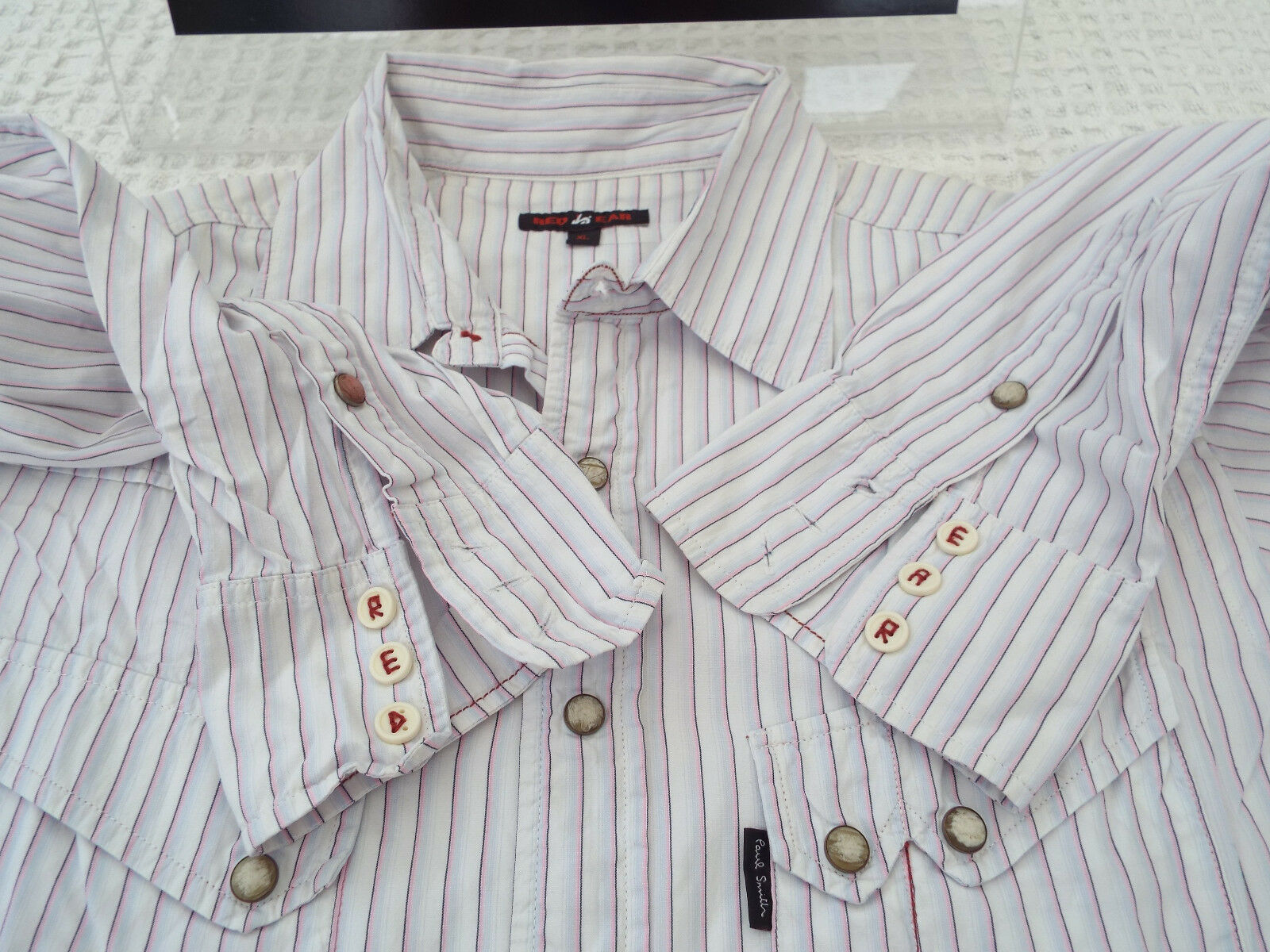 PAUL SMITH Mens Shirt  Size XL (CHEST 44 )  RRP +  STRIPED RED EAR