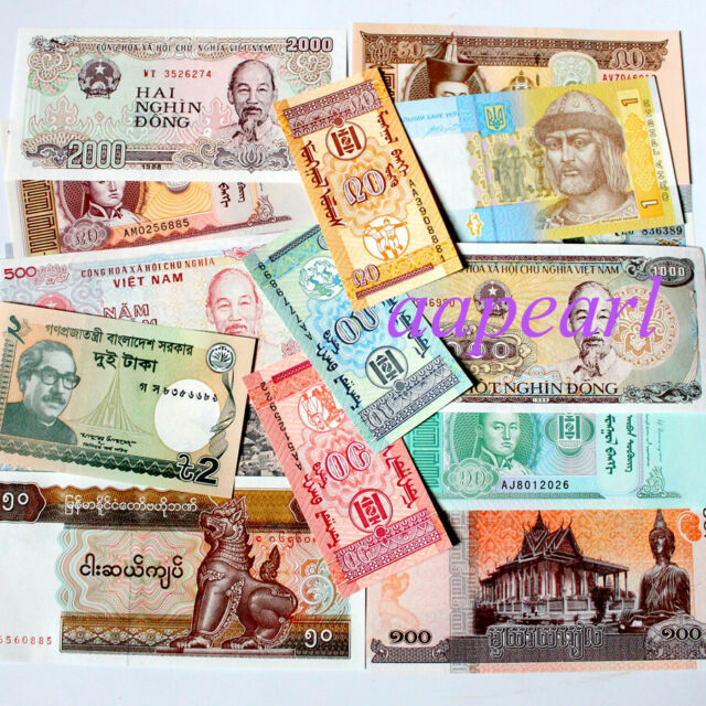 20 Banknotes Different 100 Real World Paper Money Collections Uncirculated