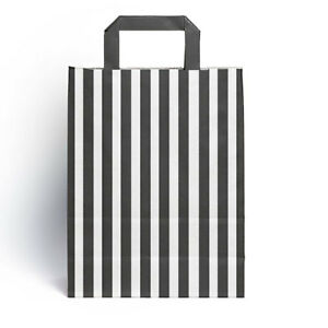 Details About 25 X Black Candy Stripe Paper Party Gift Bags With Handles 18cm 23cm 8 5cm
