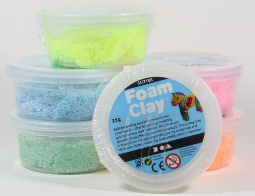 Foam Clay Glitter Gltzer 6x35g - Modelliermasse große Dosen Kugelknete