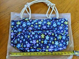 "Shoulder bag, purse, tote, blue floral design, 18""x12""x6"", BRAND NEW"