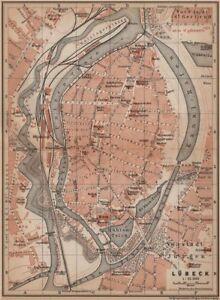 LBECK antique town city stadtplan SchleswigHolstein karte