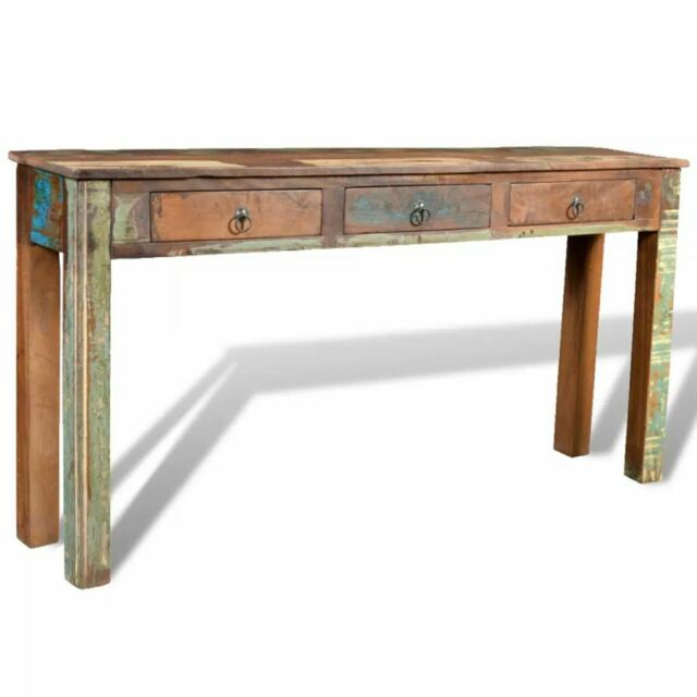 Awe Inspiring Vidaxl Console Table With 3 Drawers Reclaimed Wood Entryway Hall Furniture Inzonedesignstudio Interior Chair Design Inzonedesignstudiocom