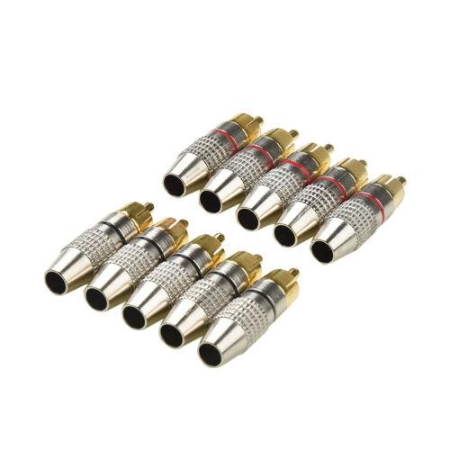 Metall Kabel Cinch Stecker Anschluss Vergoldet Adapter 10stk Audio Video Haltbar
