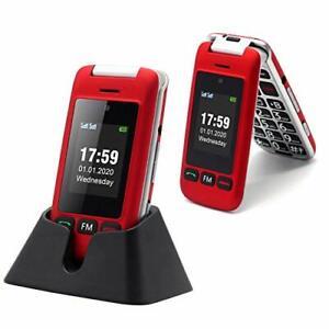SENIOR FLIP 2G Big Button telefono cellulare per Anziani SIM Gratis Sbloccato Facile da usare