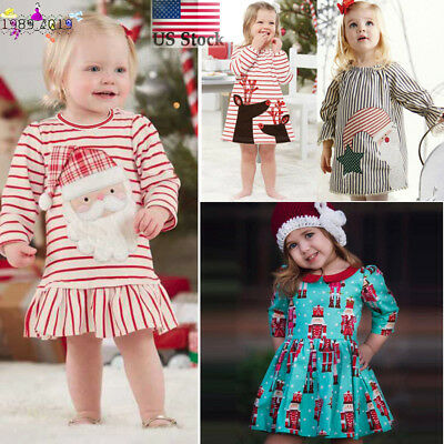 US Toddler Kids Baby Girl Xmas Long Sleeve Princess Dress Casual Outfits Clothes