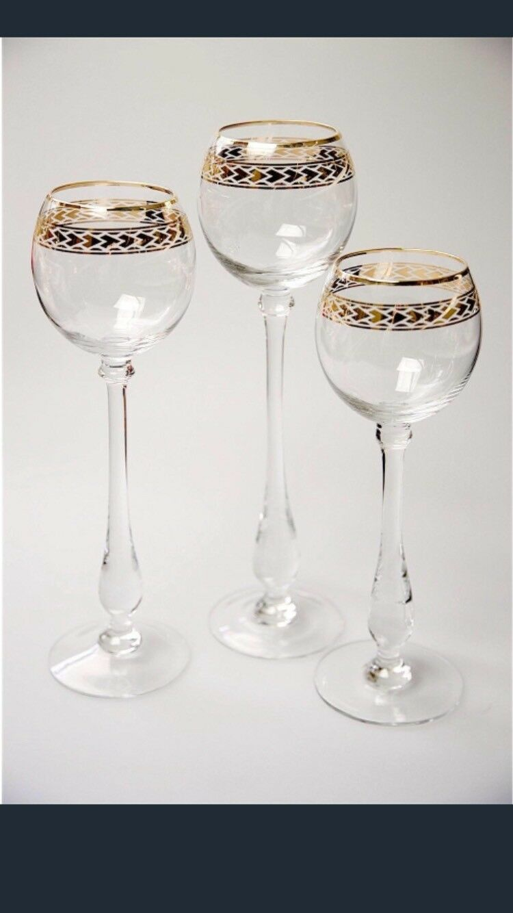 3 Piece Glass Candle Holder With gold Polynesian Decal