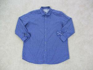 Robert-Graham-Button-Up-Shirt-Adult-2XL-XXL-Blue-Plaid-Casual-Flip-Cuff-Mens-A02