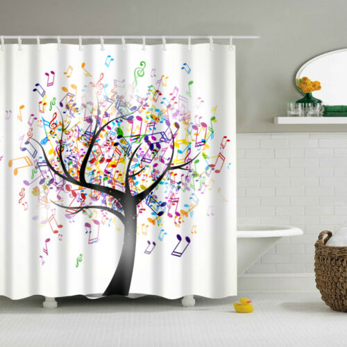 SHOWER CURTAIN Polyester Fiber Music Graphics Mildew Resistant with Hooks