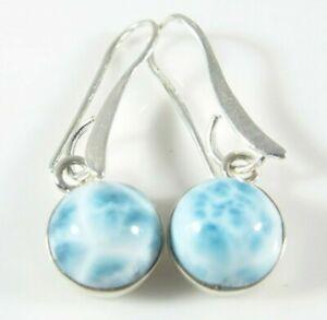 Natuerliche-OCEAN-BLUE-LARIMAR-runde-Ohrstecker-925-Sterling-Silber-10mm