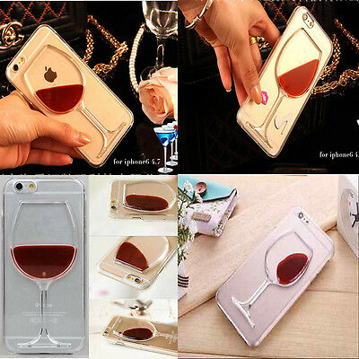 Liquid 3D Wine Glass Cocktail Bottle Phone Case Cover For Samsung Galaxy iPhone
