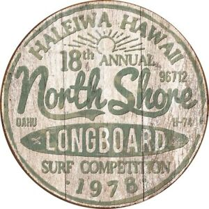 North-Shore-Surf-Vintage-Rustic-Retro-Round-Tin-Metal-Sign-12-x-12in