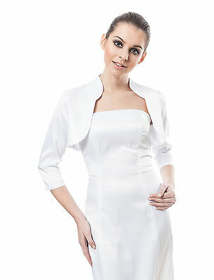 Willensstark New Womens Wedding Bridal Prom Satin Bolero Shrug Jacket Stole Size Uk S M L Xl