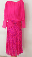 Vtg  Carolyne Roehm 2 Piece Skirt Suit Silk Fuchsia/Pink tone Size S