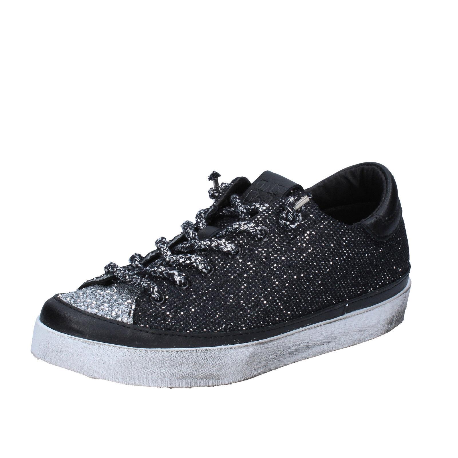 Damen schuhe 2 STAR 35 Turnschuhe silber schwarz textil glitter BZ540-B