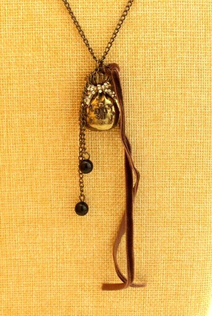 Vintage Anna Sui Rhinestone Gold Tone Money Bag P… - image 1