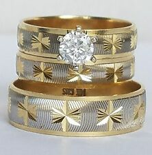 .20 C Round Trio 3 Piece 14K Yellow Gold  Engagement Wedding Band Ring Set S7 95
