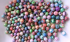 50 POLYMER FIMO CLAY BEADS ~ Random Flower & Assorted Pattern Mix ~ 8mm Round