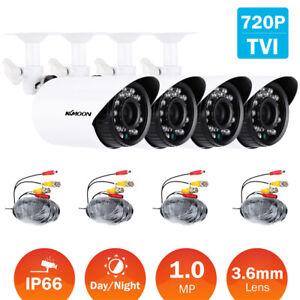 KKmoon 4pcs 720P Outdoor Indoor CCTV Bullet Camera 4*60ft Video Cable Kit IR-CUT