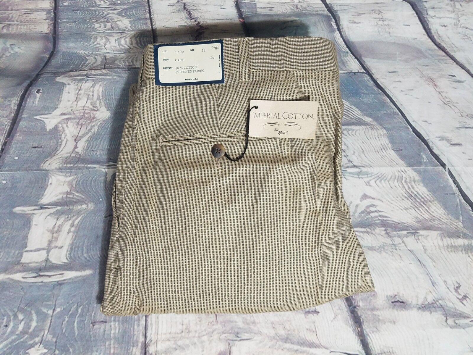 NWT Berle USA Capri Model Beige Geometric Pleated Cotton Dress Casual Pants 36
