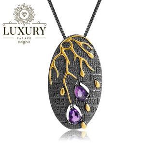 Natural-Amethyst-Genuine-925-Sterling-Silver-Handmade-Branch-Pendant-Necklace