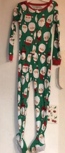 NWT CARTER/'S  UNISEX ONE PIECE CHRISTMAS PAJAMAS GREEN W// SANTA CLAUS 4T 5T