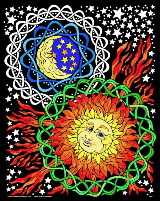 Sun Moon - Large 16x20 Inch Fuzzy Velvet Coloring Poster