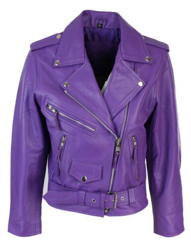 BRANDO Ladies Women Purple Classic Biker Motorcycle Motorbike Leather Jacket  Hi