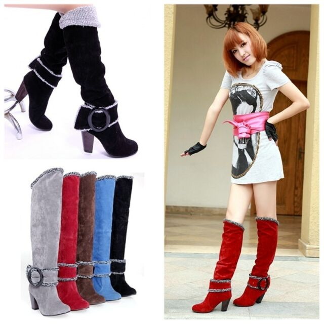 Women's Block Heel Shoes Suede Fabric Fashion Knee High Snow Boots AU Size O258