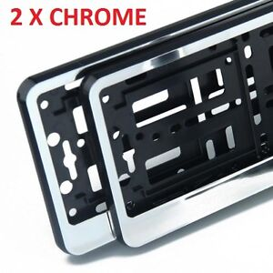 2-x-034-CHROME-034-EFFECT-NUMBER-PLATE-HOLDER-SURROUND-CAR