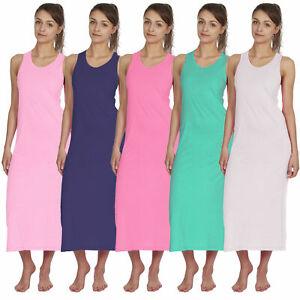 Femme Long Ete Robe Longue Sans Manches T Shirt Tunique Casual Jersey Vacances Top Ebay