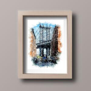 Watercolour-New-York-Skyline-Scene-Home-Print-Gift-Wall-Art-A4-Unframed