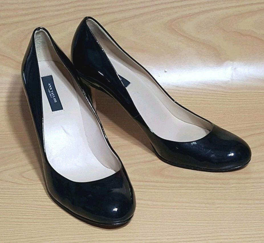Ann Taylor Black Patent Leather Heels Pumps Womens shoes 9 M