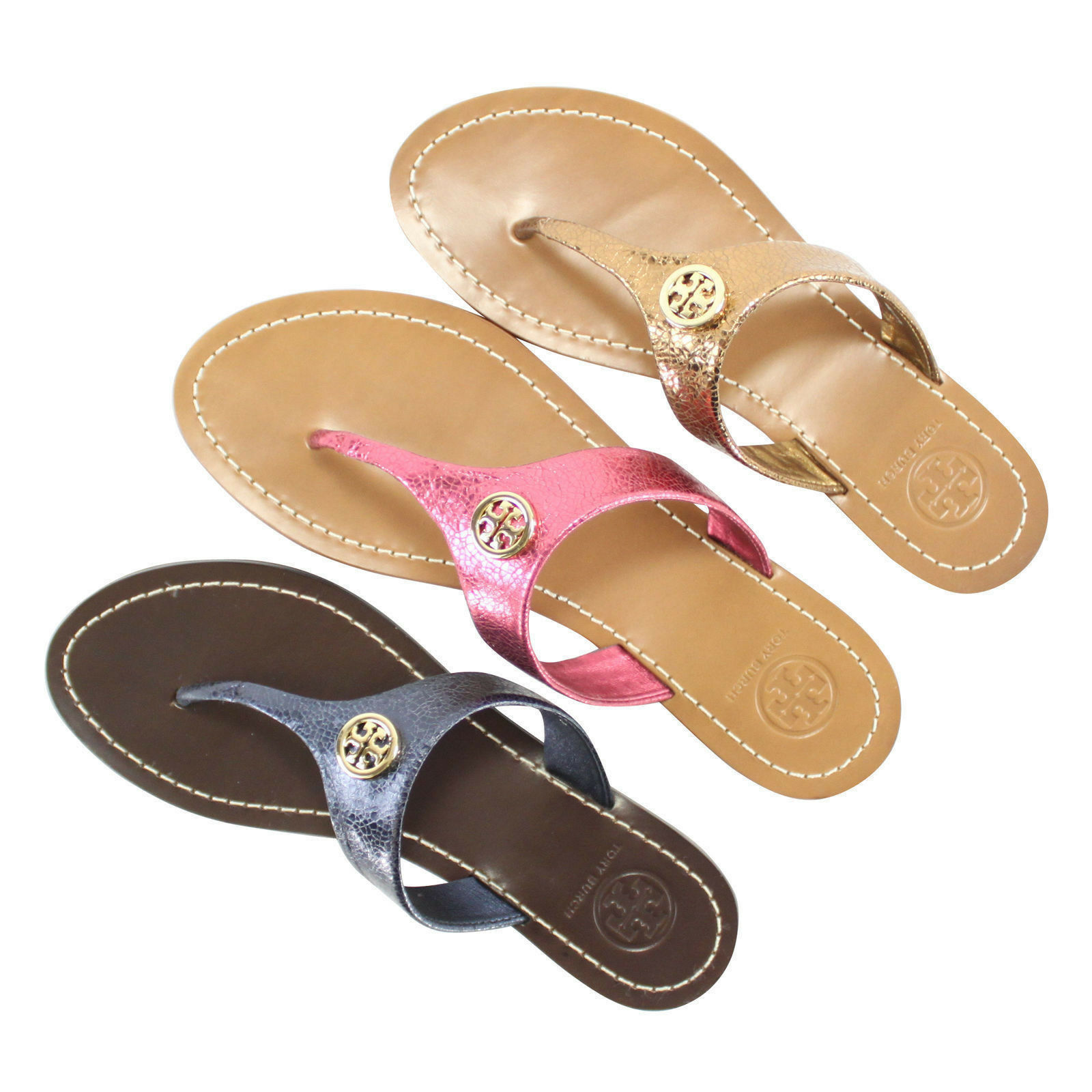 NEW Tory Burch CAMERON Thong Mirror Metallic Sandals 5-8.5