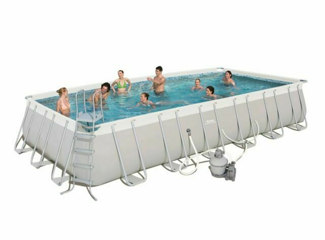 Bestway 24ft X 12ft X 52in Rectangular Frame Above Ground Swimming Pool Set For Sale Online Ebay