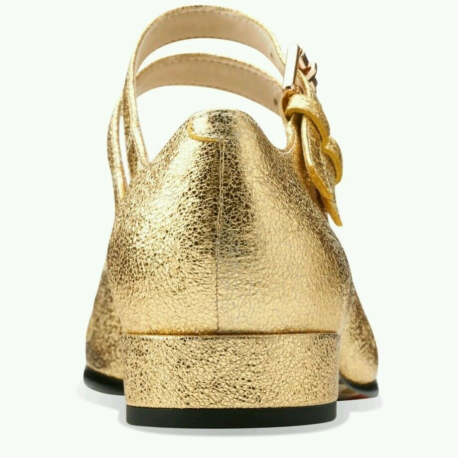 SIZE 5 US 7  LEATHER ORLA KIELY GOLD SPARKLY LEATHER  ANGELINA Damenschuhe Schuhe NEW NICE GIFT ba5f44