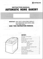 Hitachi Bread Machine Maker Manual Hb-c103 Hb-c202 Hb-c301 Hb-d102 Hb-d103