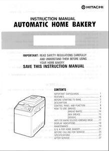 Hitachi bread machine maker manual hb a101 hb b100 hb b101 hb b102 image is loading hitachi bread machine maker manual hb a101 hb fandeluxe Choice Image