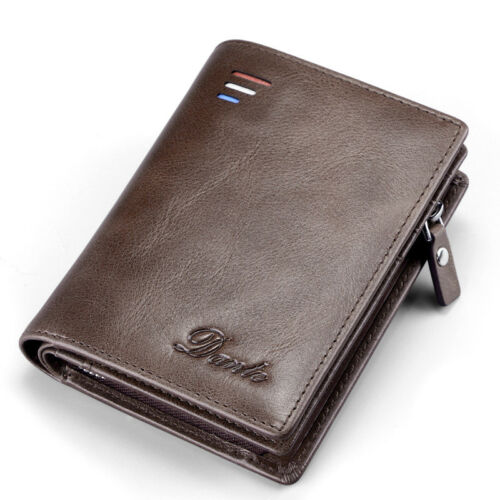 Men's Wallet Oil Wax Leather Bifold Wallet Cash Bag Card Photo Holder Coin Purse
