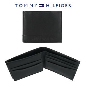 Tommy-Hilfiger-Men-039-s-Bifold-Slim-Thin-Leather-Wallet-with-RFID-Blocking-Black