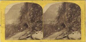 Suisse Passage Testa Nero Martigny-Schweiz Stereo Vintage Albumina Ca 1865