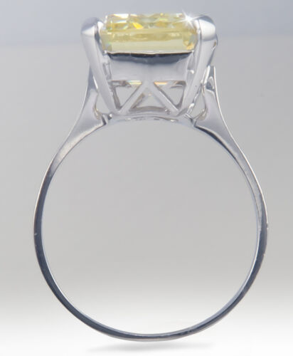 10 ct Canary Emerald Cut Ring Vintage Top Russian CZ  Moissanite Simulant Size 8