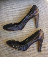 ROBERTO DEL CARLO BLACK LEATHER SLEEK HIGH HEELS PUMPS MADE IN ITALY 39 8.5